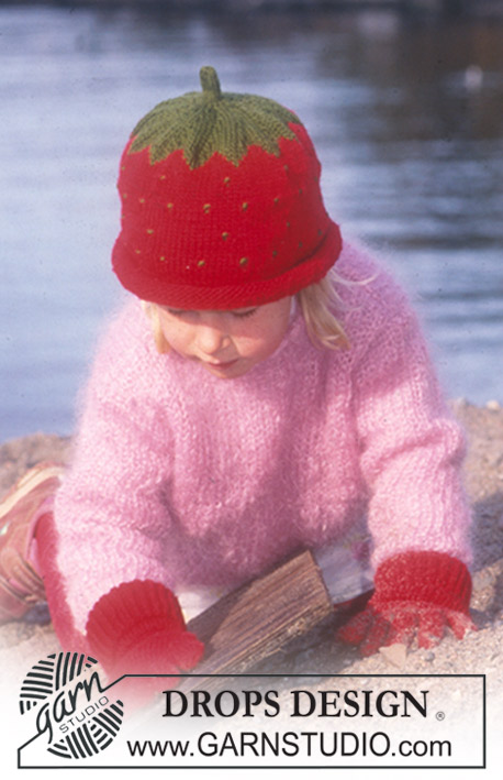 Berry Cute / DROPS Baby 10-1 - Blåbær eller jordbærhue, DROPS bluse og vanter i Karisma Superwash