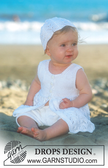 Beach Baby / DROPS Baby 10-7 - Short sleeved dress and hat in Safran