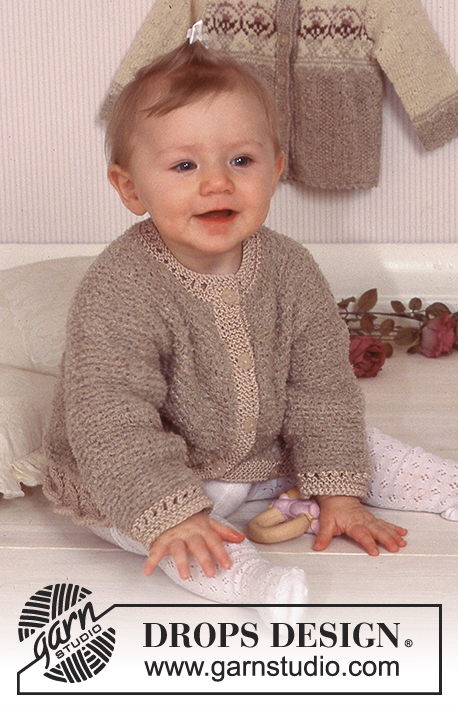 DROPS Baby 11-18 - Cardigan in Cotton Frisé and Muskat.