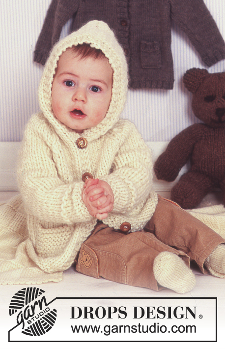 DROPS Baby 11-27 - Hooded cardigan in Eskimo