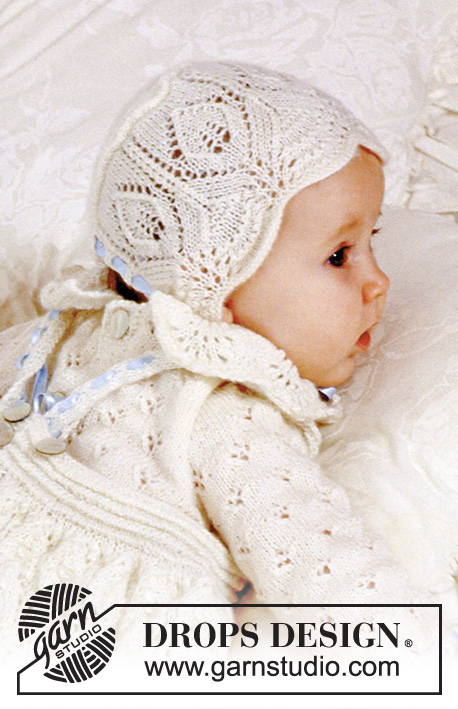 DROPS Baby 11-31 - The set comprises: Christening gown, bonnet and trousers.