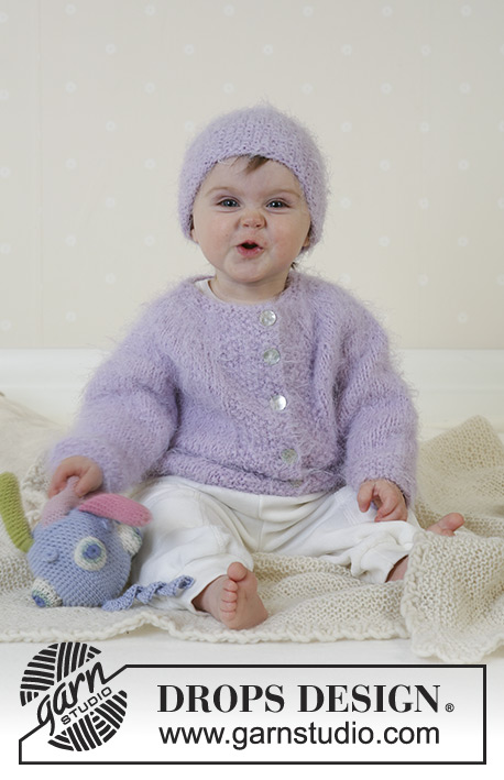 Baby Sofie / DROPS Baby 13-11 - Jacket with round yoke, hat, soft toy and blanket in Symphony or Melody
