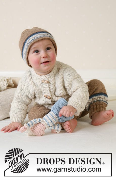 Marelius / DROPS Baby 13-14 - DROPS Jacket, pants, hat and soft toy in Alpaca