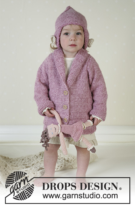 Flora / DROPS Baby 13-16 - DROPS Jacket and hat in Alpaca