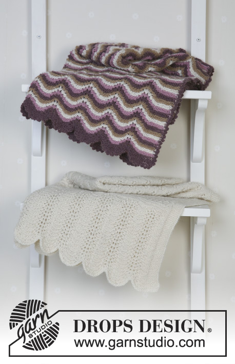 Teint de Neige / DROPS Baby 13-22 - Blanket with pattern in Alpaca