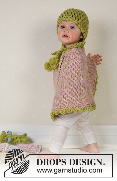Little Sprout / DROPS Baby 14-1 - Knitted poncho with pompons and socks in DROPS Alpaca, and crochet hat in DROPS Eskimo. Available in baby and children sizes.