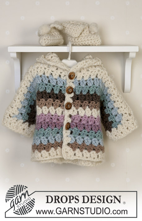 Cozy Cuddle / DROPS Baby 14-25 - Crochet set of striped jacket and slippers in DROPS Eskimo. Sizes baby and children from 1 month to 4 years.