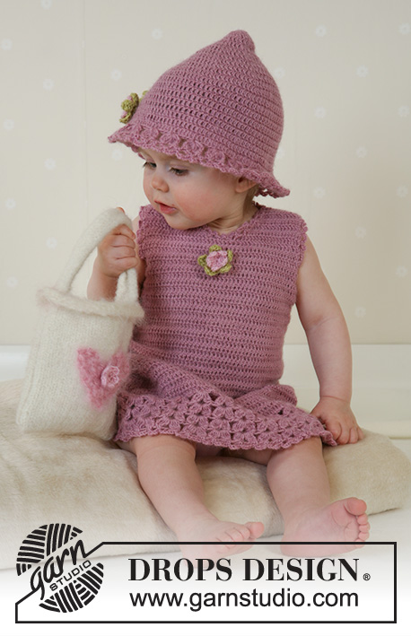 Little Miss Berry / DROPS Baby 14-4 - Crochet dress and summer hat in DROPS Alpaca. Knitted and felted bag in DROPS Alaska. Sizes for baby and children, 1 month to 4 years.