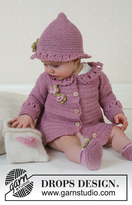Little Miss Berry Cardigan / DROPS Baby 14-5 - Crochet jacket with round yoke and lace collar, summer hat and slippers in DROPS Alpaca. Sizes for baby and children, 1 month to 4 years.