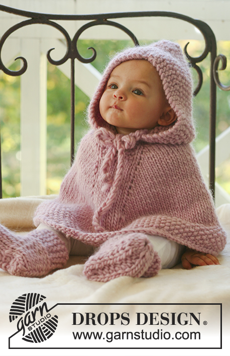 Little Peach / DROPS Baby 16-1 - Set of knitted poncho with hood and booties for baby and children in DROPS Eskimo