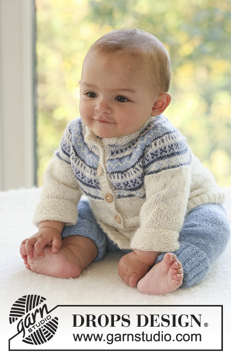 Himmelbl / DROPS Baby 16-10 - Set of knitted cardigan with round yoke and Nordic pattern plus pants, for baby and children in DROPS Alpaca