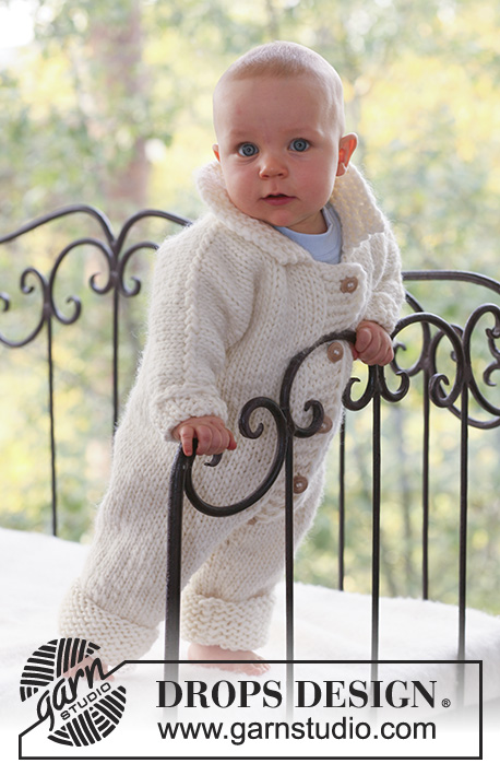 Ready to Fly / DROPS Baby 16-15 - Knitted baby jumpsuit with seamless sleeves in DROPS Eskimo