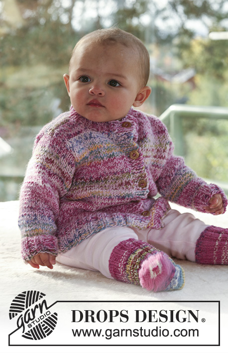 To the Fair Jacket / DROPS Baby 16-19 - Sett med strikket jakke og sokker til baby og barn i DROPS Fabel og DROPS Alpaca