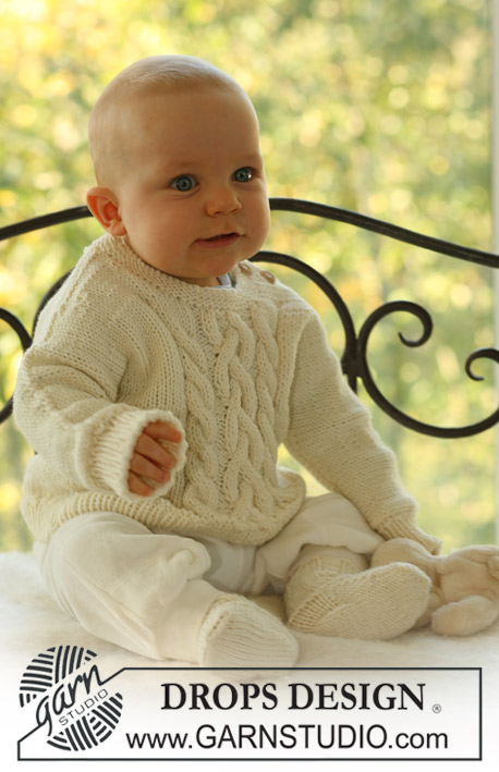 Sweet Snow / DROPS Baby 16-20 - Set of knitted socks and jumper with cables and seamless sleeves, for baby and children in DROPS Merino Extra Fine