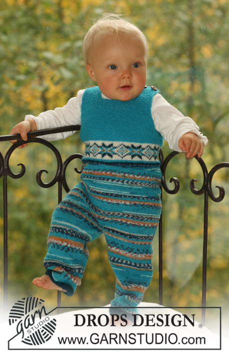 Little Shepherd / DROPS Baby 16-23 - Knitted baby jumpsuit with or without buttons between the legs, in DROPS Fabel and DROPS Alpaca