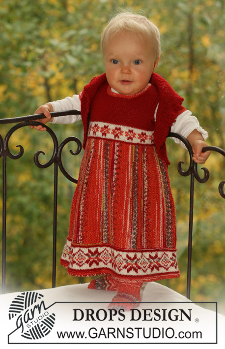 Petite Heidi / DROPS Baby 16-25 - Set of knitted dress with Nordic pattern and short rows, bolero and socks in DROPS Fabel and DROPS Alpaca, for baby and children