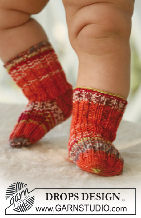 Tiny Toes / DROPS Baby 16-26 - Socks for baby and children, knitted in DROPS Fabel
