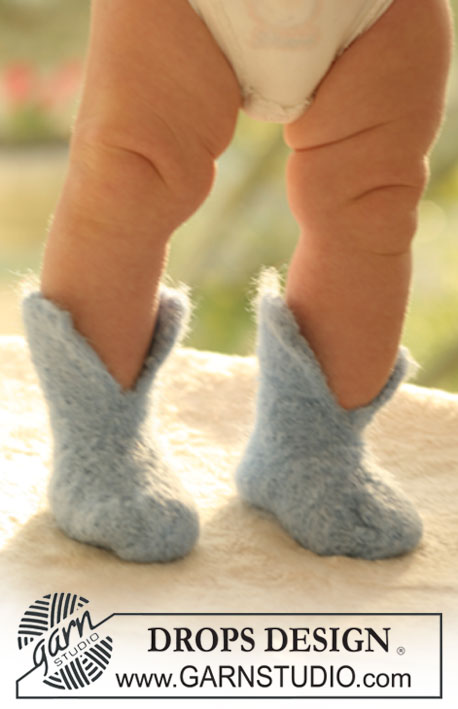 Howdy / DROPS Baby 17-12 - Felted slippers for baby and children in 2 threads DROPS Alpaca
