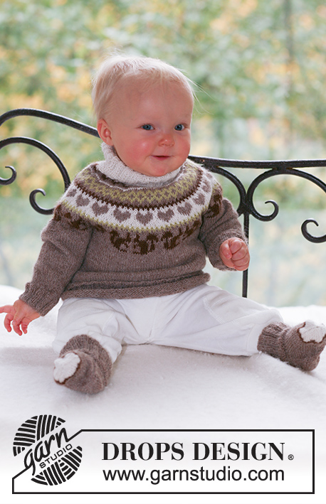Squirrel Song / DROPS Baby 17-15 - Set of knitted jumper with round yoke, squirrel and heart detail, plus socks for baby and children in DROPS Alpaca