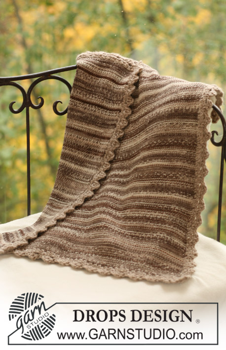Woodland Blanket / DROPS Baby 17-17 - Knitted baby blanket in 2 threads DROPS Fabel with crochet edges in DROPS Snow