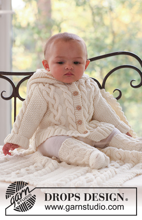 Matheo / DROPS Baby 17-2 - Set of knitted jacket with hood, socks and blanket with cables for baby and children in DROPS Merino Extra Fine