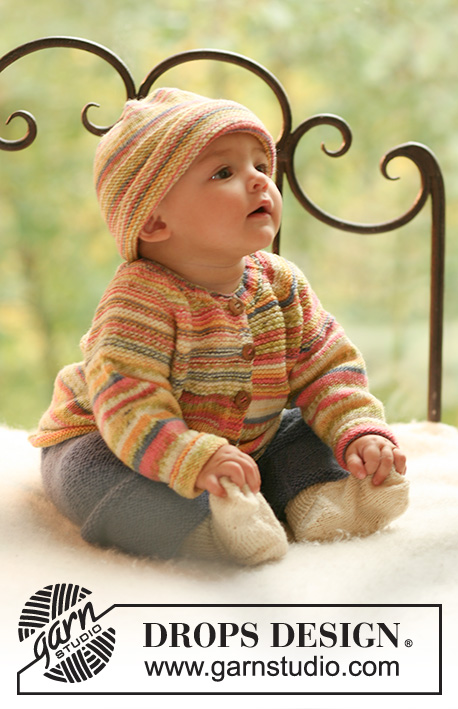 Summer Fruit / DROPS Baby 17-23 - Set of knitted jacket and hat in DROPS Fabel plus pants and socks in DROPS Alpaca for baby and children
