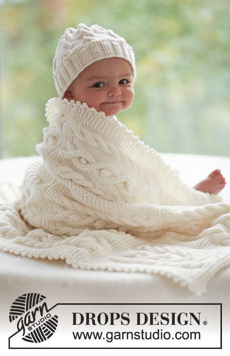 Cables and Cuddles / DROPS Baby 17-28 - Set of knitted hat and blanket with cables, for baby and children, in DROPS Merino Extra Fine