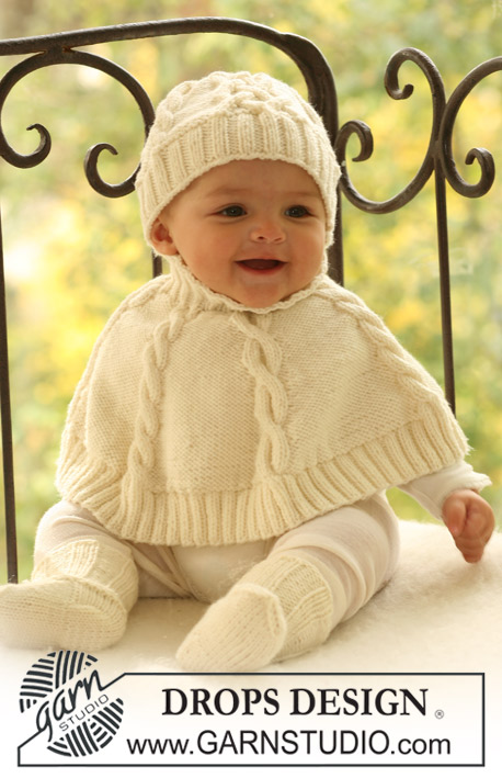 Baby Poncho Knitting Patterns : Baby Dove / DROPS Baby 17-5 - Modeles tricot gratuits de DROPS Design