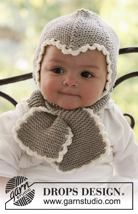 Little Acorn / DROPS Baby 18-1 - Knitted helmet hat and scarf in garter st with crochet edges, for baby and children in DROPS Merino Extra Fine