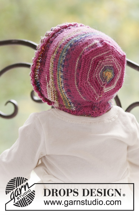 Little Miss / DROPS Baby 18-11 - Knitted bonnet hat for baby and children in DROPS Fabel