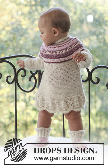 Princess Dora / DROPS Baby 18-13 - Set of knitted dress with round yoke and lace pattern plus booties in DROPS Alpaca for baby and children