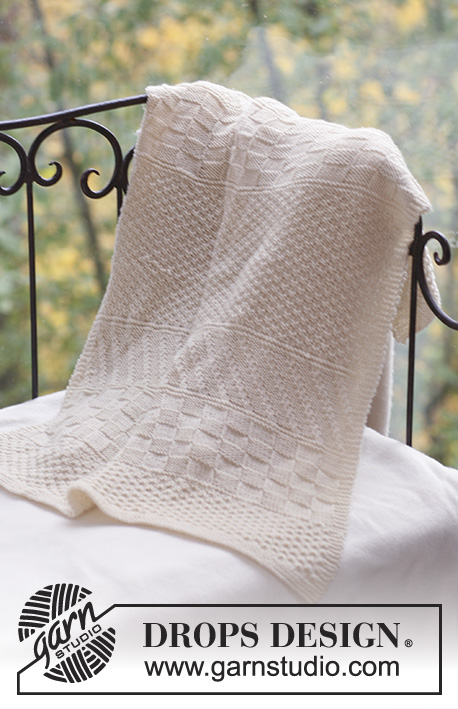 Petit Prince / DROPS Baby 18-16 - Knitted baby blanket with structured pattern in DROPS Merino Extra Fine