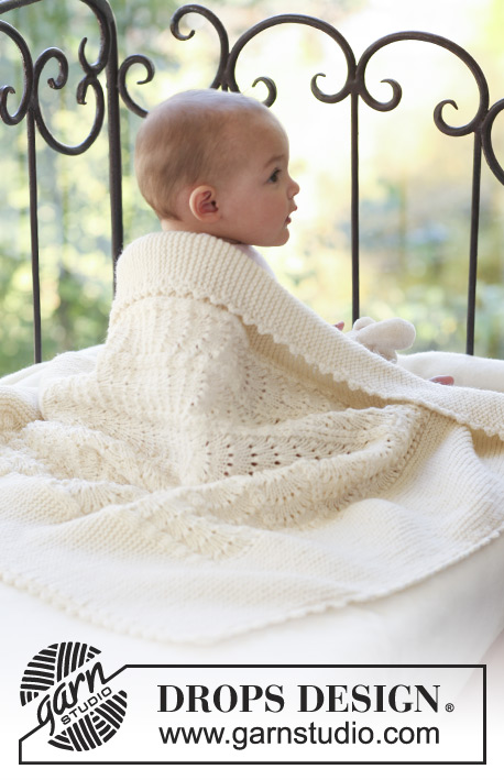 Princess Chantilly / DROPS Baby 18-30 - Couverture bébé au tricot, avec point de vagues, en DROPS  Merino Extra Fine
