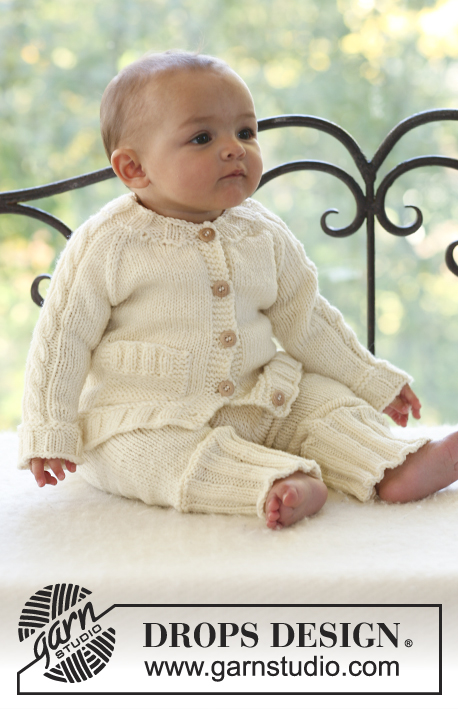 Vanilla Sprite / DROPS Baby 18-4 - Set of knitted cable jacket with raglan sleeve and pants for baby and children in DROPS Merino Extra Fine