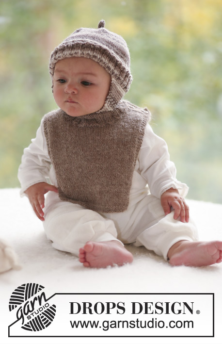 Woodland Elf / DROPS Baby 18-5 - Set of knitted hat with ear flaps in DROPS Fabel and neck warmer in DROPS Alpaca for baby and children