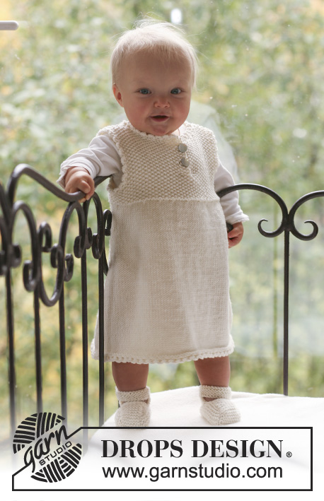 Baby Harriet / DROPS Baby 18-9 - Set of knitted booties and dress with yoke in seed st for baby and children, in DROPS Merino Extra Fine
