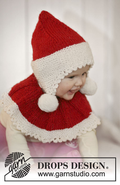 Baby Noel / DROPS Baby 19-11 - Set of knitted Santa hat and neck warmer for baby and children in 2 threads DROPS Alpaca