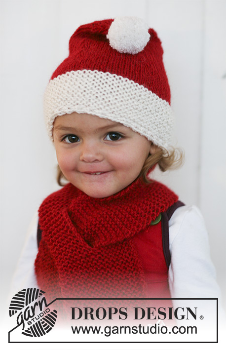 Little Miss Claus / DROPS Baby 19-12 - Knitted set of Santa hat and scarf for baby and children in 2 threads DROPS Alpaca