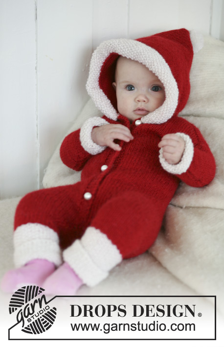My First Christmas / DROPS Baby 19-16 - Santa onesie with hood for baby and children in 2 threads DROPS Alpaca