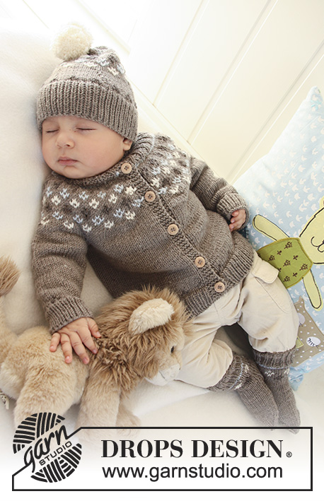 First Snow / DROPS Baby 19-2 - Set of knitted jacket with raglan sleeves and turtle neck, hat and socks with Nordic pattern for baby and children in DROPS Merino Extra Fine