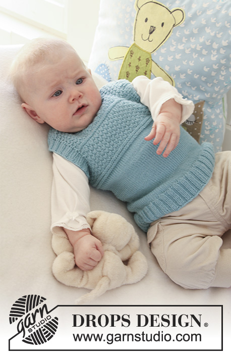Petit Lord / DROPS Baby 19-20 - Knitted vest with textured pattern for baby and children in DROPS BabyMerino
