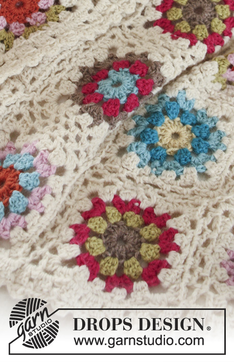 Granny's Little Girl / DROPS Baby 19-22 - Colourful crochet baby blanket with granny squares in 2 threads DROPS Alpaca