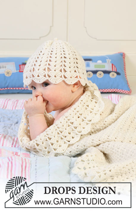 Sweet Buttercup Blanket / DROPS Baby 19-6 - Set of crochet blanket with wide edge in fan pattern and hat for baby and children in DROPS BabyMerino