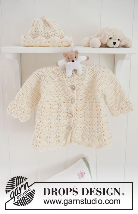 Sweet Buttercup / DROPS Baby 19-8 - Set of crochet jacket with raglan, and hat with fan pattern for baby and children in DROPS BabyMerino