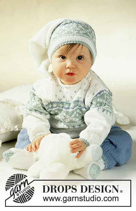 Nighty Night / DROPS Baby 2-13 - DROPS jumper with star pattern, pants, hat, socks and mittens.