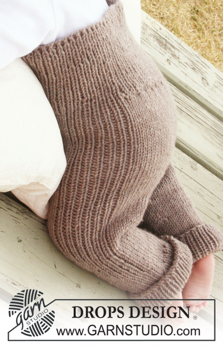 DROPS Baby 20-10 - Knitted pants in with rib for baby and children in DROPS Merino Extra Fine