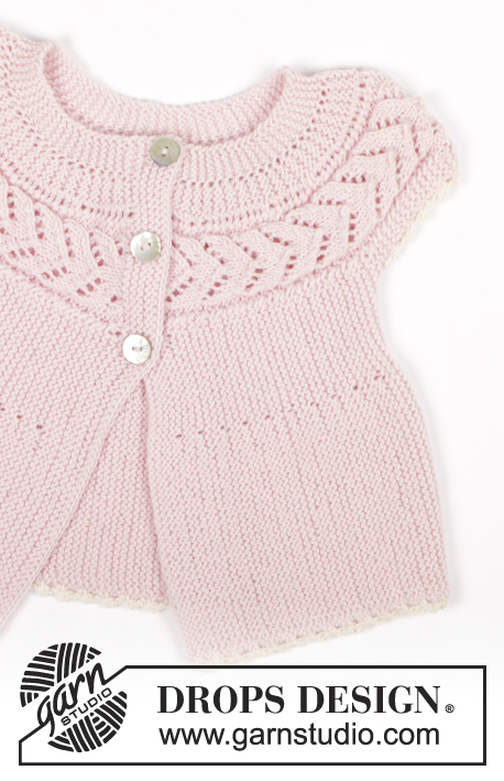 Nova / DROPS Baby 20-14 - Short sleeve cardigan knitted from side to side in garter st and lace pattern for baby and children in DROPS BabyMerino