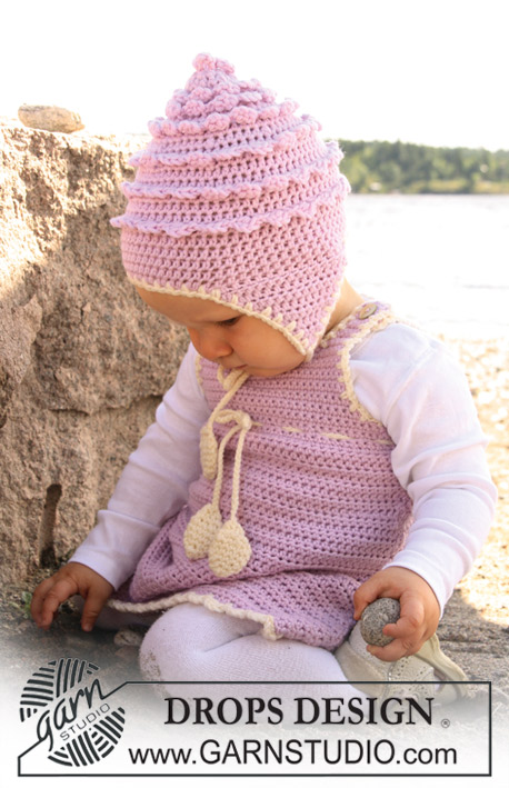 Sweet Little Cupcake / DROPS Baby 20-20 - Set of crochet dress and hat for baby and children in DROPS Merino Extra Fine