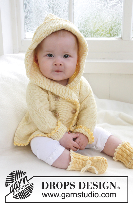 Buttercup / DROPS Baby 21-1 - Knitted jacket with hood and slippers for baby and children in DROPS BabyMerino