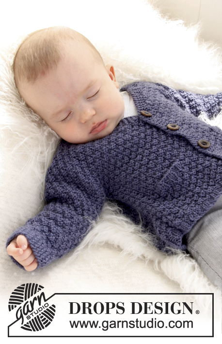 Checco's Dream / DROPS Baby 21-11 - Knitted jacket with seamless sleeves in seed st for baby and children in DROPS Merino Extra Fine